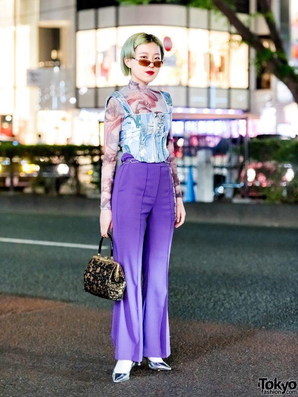 Floral Corset Top & Purple Pants Harajuku Street Style w/ Nodress, (ME), Ole & Faith Tokyo