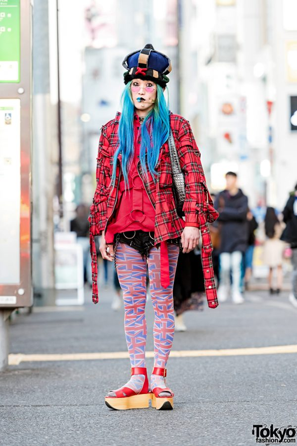 Japanese Street Style Featuring Handmade Crown, Plaid Jacket, Tiger of London & Vivienne Westwood Rocking Horse Shoes