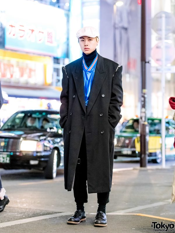 Vintage Menswear Street Style w/ Suede Coat, Remake Koyama Shogo Pants, Lace-Up Shoes & Tokyo Human Experiments Rings