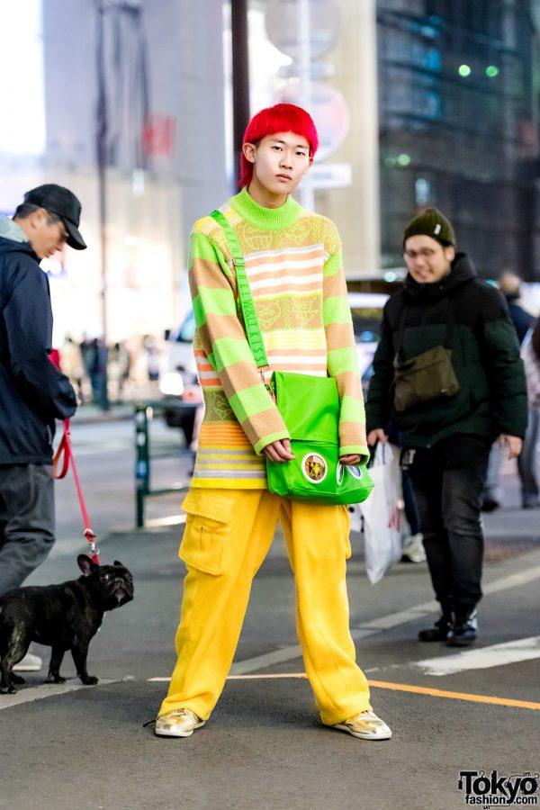 Pink Hair, Vintage Accessories, W&LT Striped Sweater, Fubu Yellow Pants & Y-3 Gold Sneakers in Harajuku