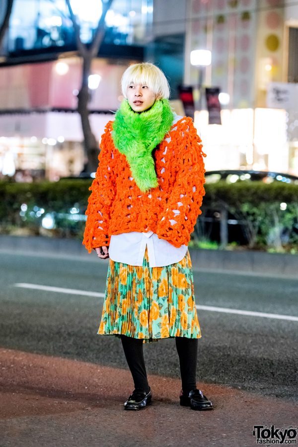 Harajuku Guy in Colorful Eclectic Fashion w/ Dog Harajuku Loose Knit Sweater, Floral Skirt, Haruta Loafers & Fuzzy Muffler