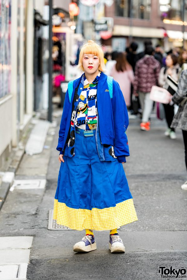 Blue Harajuku Street Style w/ San To Nibun No Ichi, Mickey Mouse, Tokyo Bopper & Kiramisa Quilted Backpack