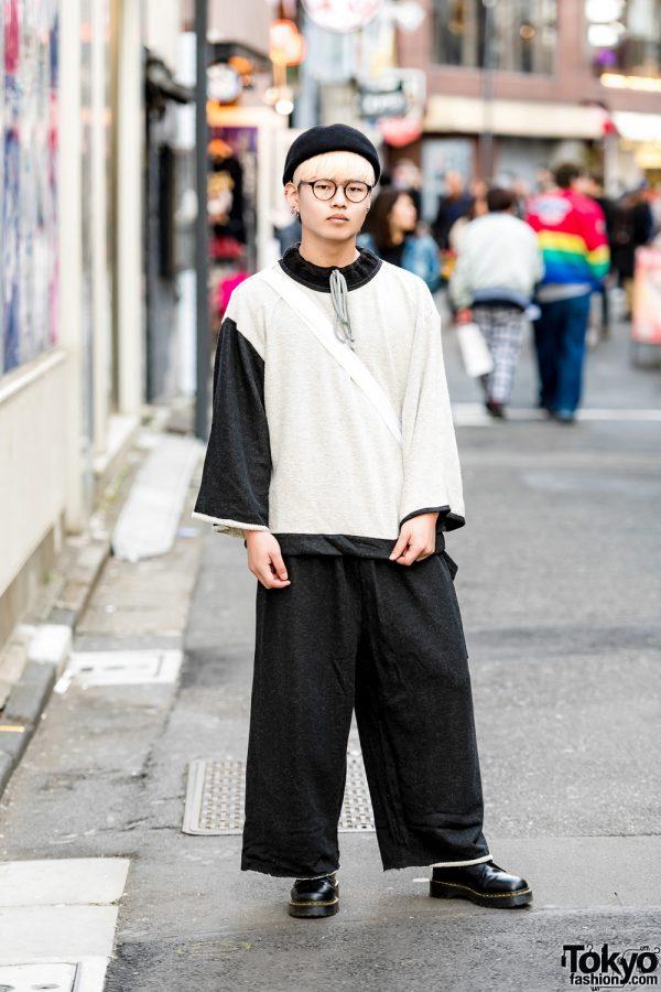Japanese Monochrome Street Style w/ Amatunal Outfit, Dr. Martens Boots & Kiramisa Sling Bag