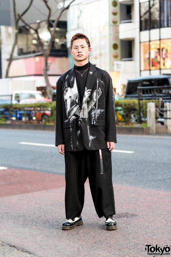 Minimalist Japanese Menswear Street Style w/ Diet Butcher Slim Skin Blazer, Yohji Yamamoto Pants, Dr. Martens Wingtip Boots & Vivienne Westwood Orb Necklace