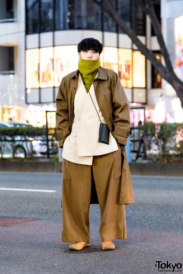 Oversized Tan Suit Tokyo Street Style w/ Hed Mayner, Ethosens, Voaaov, Edwina Horl, Building Block, Auttaa & Henrik Vibskov