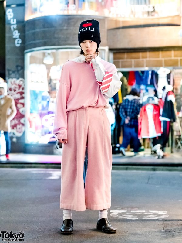 San To Nibun No Ichi Staffer in Pink Menswear Street Style w/ Richie Rich Sweater, Vaquera NYC Pants, Gucci Leather Loafers & Raf Simons Beanie