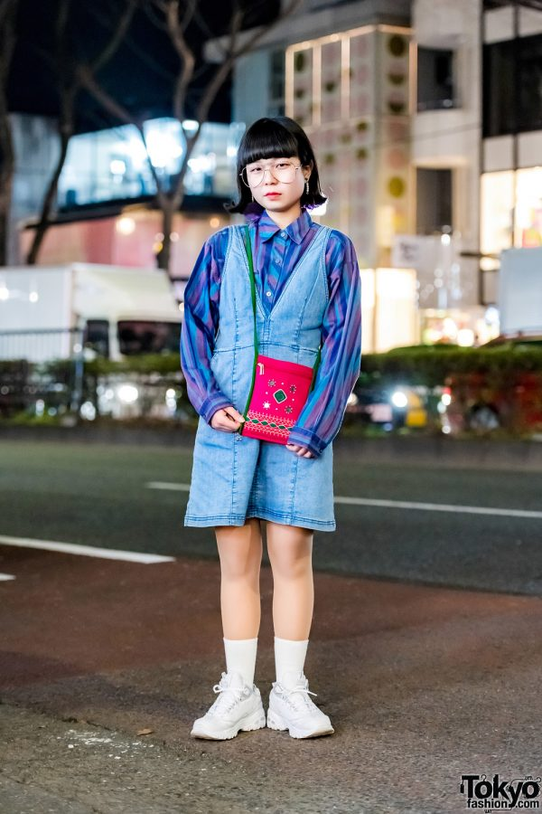 Resale Street Style in Harajuku w/ Don Don Down on Wednesday Shirt, H&M Denim Dress & Sketchers Sneakers