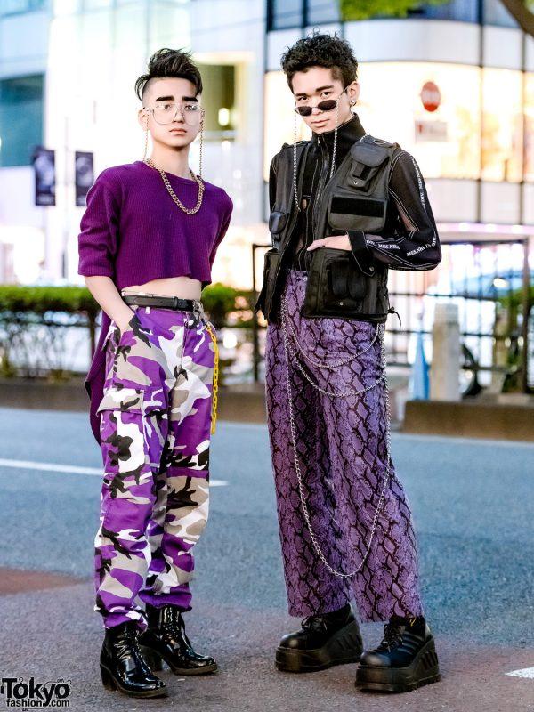 Purple Harajuku Street Styles w/ High-Low Sweater, Rothco Camo Pants, Never Mind the XU Snakeskin Pants, Gallerie Vest & WEGO Backpack