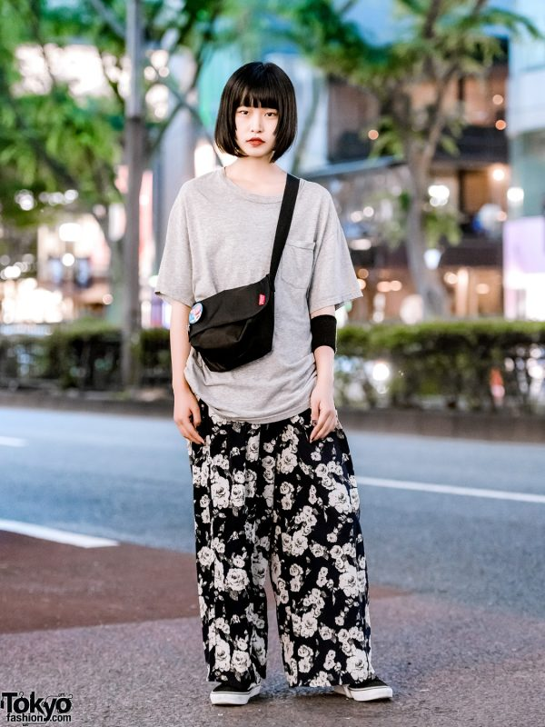 Japanese Monochrome Street Style w/ UNIQLO T-Shirt, Momo Floral Pants, Vans Sneakers & Thank You Mart Crossbody Bag