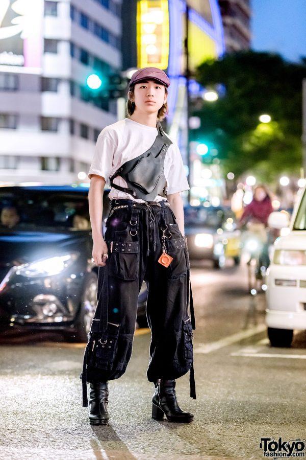 Harajuku Streetwear Style w/ Purple Newsboy Cap, Tripp NYC Pants, Banal Chic Bizarre Boots & Beauty:Beast Chest Bag