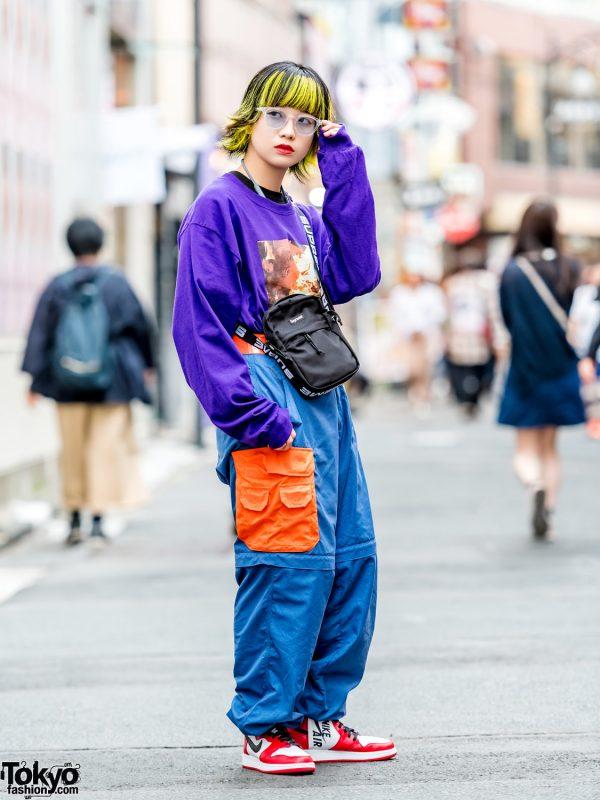 Harajuku Girl w/ Two-Tone Yellow Hair, O.U.T. Tokyo, Nike Air Jordans & Supreme Crossbody Bag