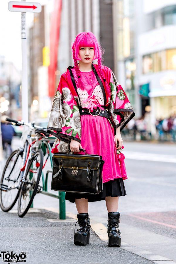 Pink & Black Street Style in Harajuku w/ Pink Twin Braids, Floral Kimono, Yosuke Boots & Satchel Bag