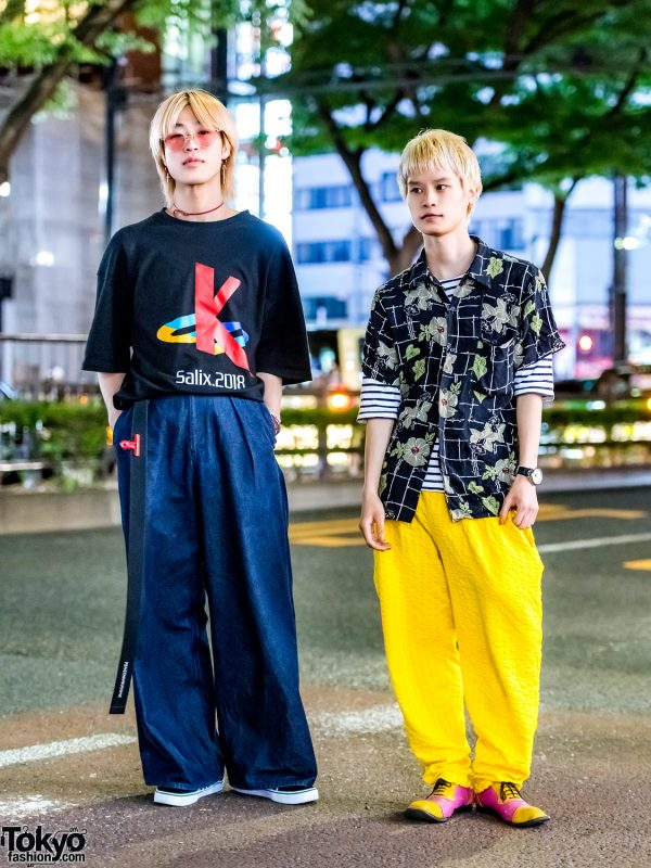 Harajuku Casual Streetwear w/ Playstation T-Shirt, Gen Izawa Wide Pants, Vans Sneakers, Vintage Floral Shirt & Comme des Garcons Oxfords