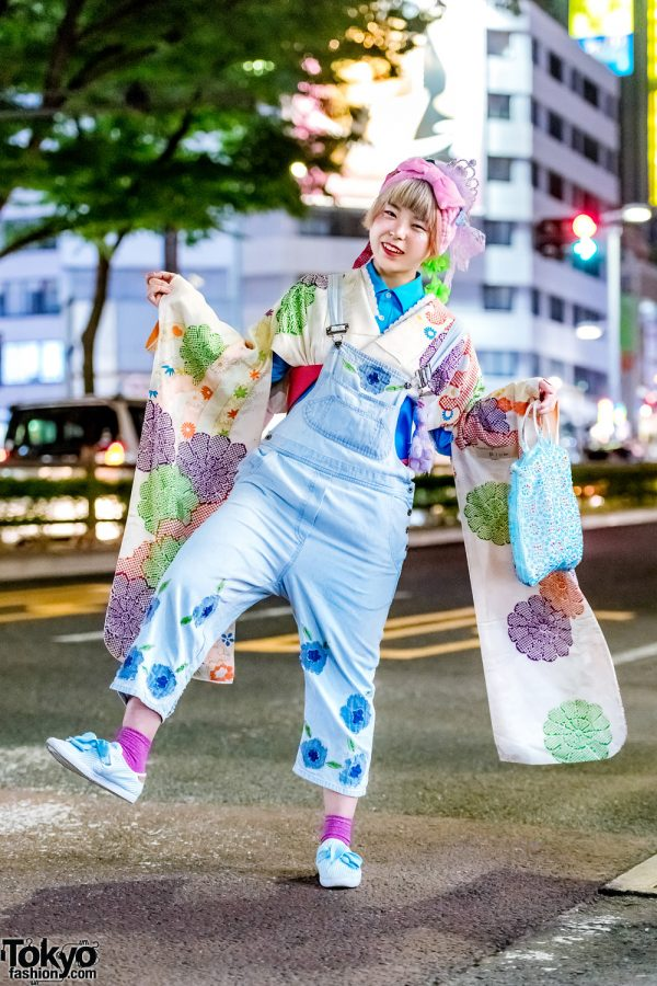 Japanese Floral Street Style w/ Floral Denim Overalls, Kimono & Adidas Sneakers