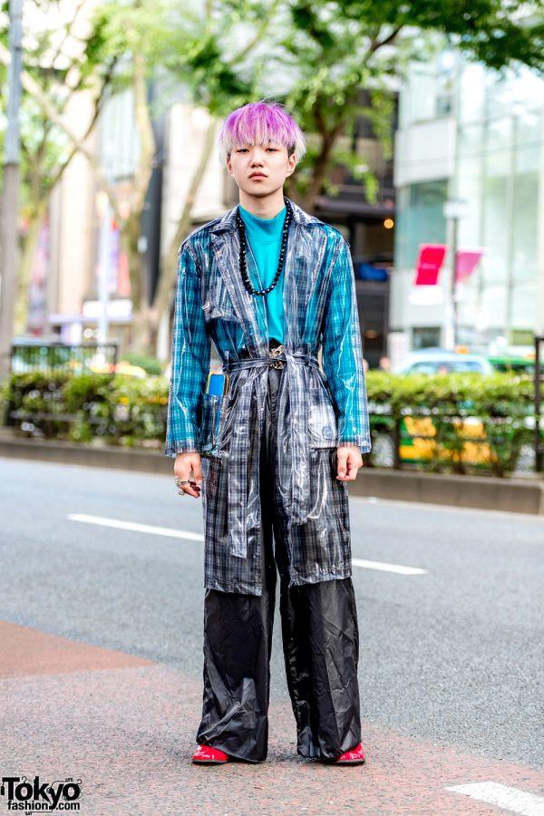 Japanese Street Style w/ Bershka See-Through Plaid Coat, New York Joe Exchange, Dressedundressed & Banal Chic Bizarre Boots