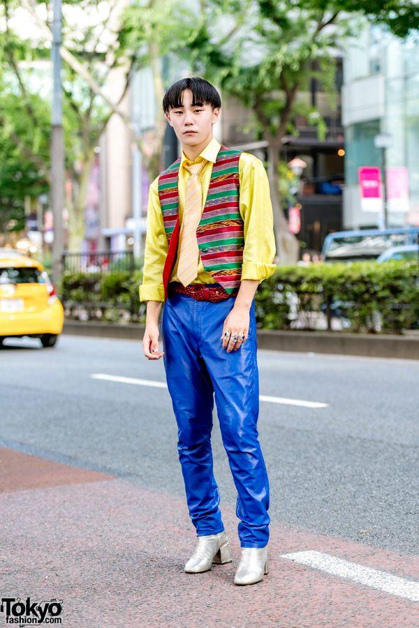 Colorful Japanese Street Style w/ Vintage Vest, Yellow Satin Shirt, Comme des Garcons Pants & Maison Margiela Boots