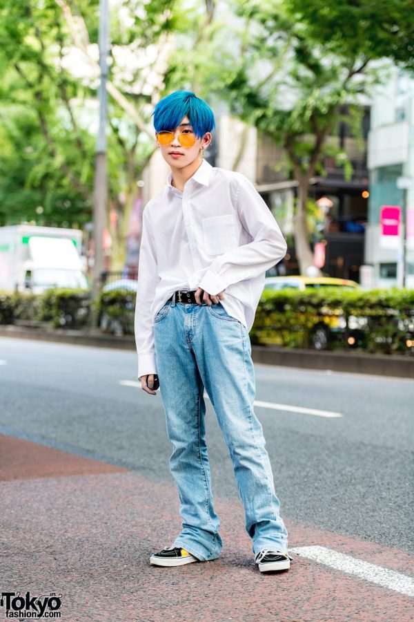 Japanese Minimalist Street Style w/ Blue Hair, Never Mind the XU, Another Youth & Vans Sneakers