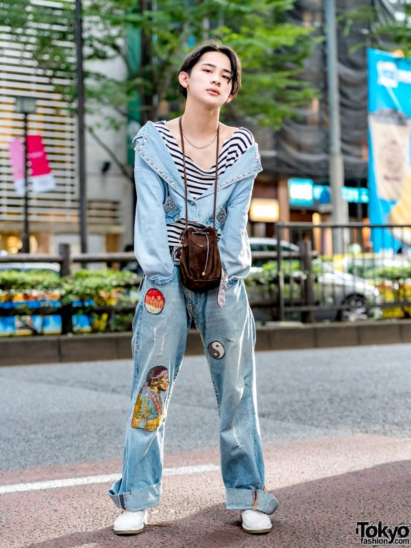 Harajuku Denim Street Style w/ Studded Cropped Jacket, Striped Top, Patch Jeans & White Loafers