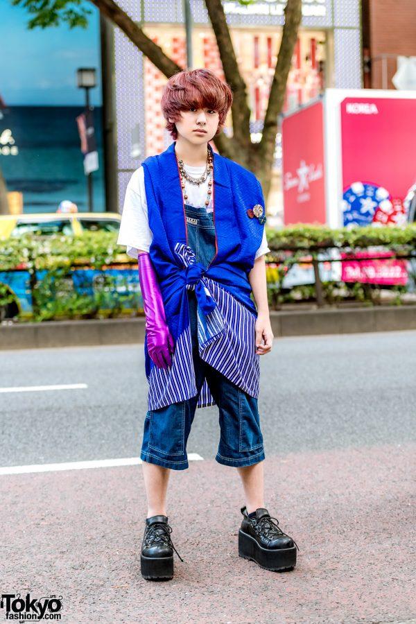 Harajuku Guy in Eclectic Street Style w/ DKNY Jumper, Southpaw Cathy T-Shirt, Yosuke Platforms & Christopher Nemeth Glove