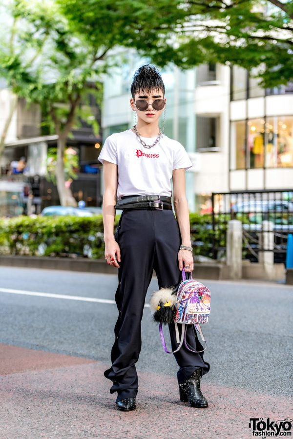 Monochrome Streetwear Style in Harajuku w/ Forever21 Statement T-Shirt, Studded Ankle Boots, Backpack & Keisuke Yoshida Pants