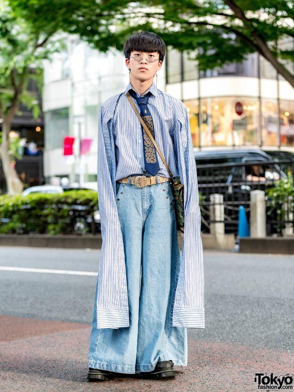 Super Long Sleeves Street Fashion in Harajuku w/ M.Y.O.B Wide Leg Jeans, New Rock Boots & Satchel Bag