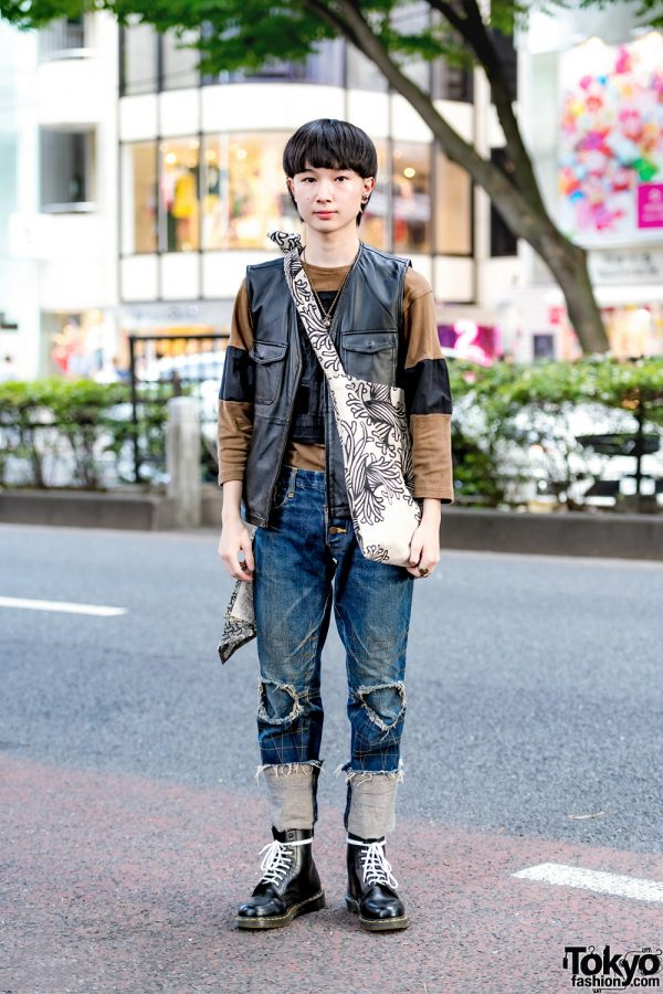 Japanese Streetwear Fashion w/ Leather Vest, Christopher Nemeth Distressed Denim, Rope Print Tote & Dr. Martens Boots