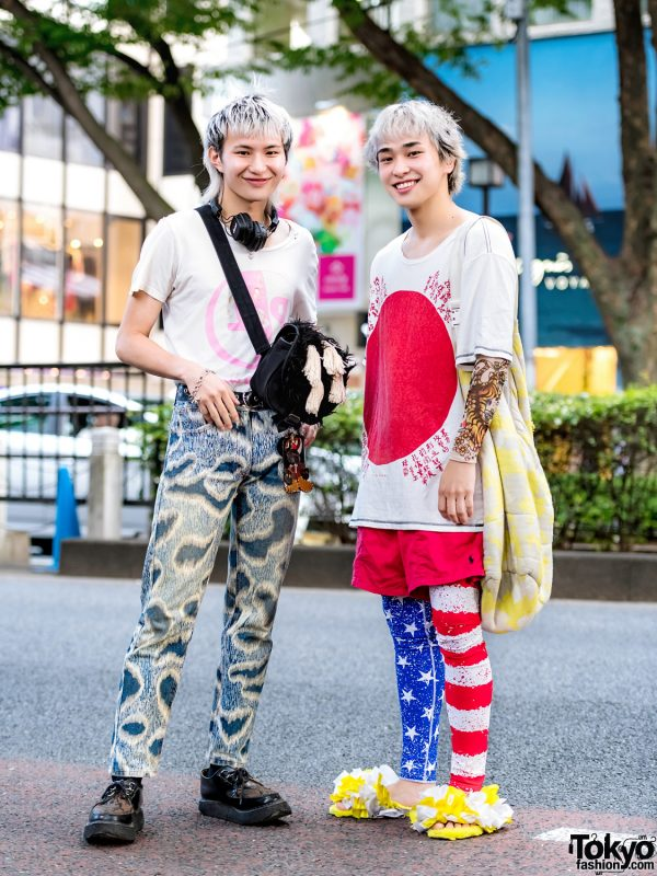Japanese Streetwear Styles w/ Hiro Rising Sun Shirt, Vivienne Westwood Printed Pants, Lucky Daikichi Ruffle Slides, George Cox Creepers & Christopher Nemeth Furry Sling Bag