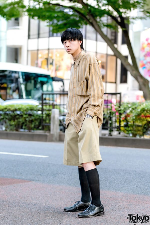 Harajuku Tan Streetwear Style w/ Striped Shirt, Dickies Shorts & Tokyo Human Experiments Knuckle Rings