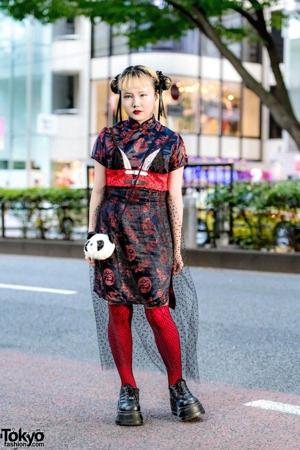 Harajuku Street Style w/ Vintage Sheer Mandarin Collar Dress, Demonia Shoes & Spider Lily Hair Bun Covers