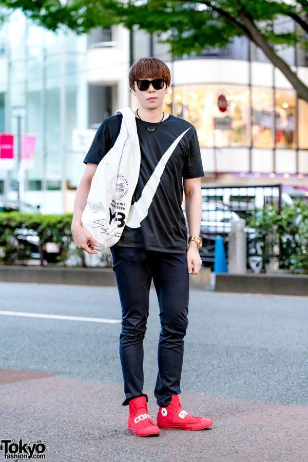 Harajuku Casual Streetwear w/ Nike T-Shirt, GU Skinny Pants, Converse Sneakers & Y-3 Backpack