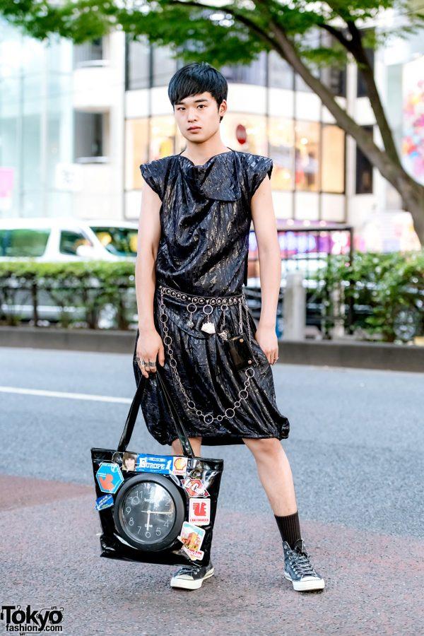 All Black Harajuku Streetwear Fashion w/ Vintage Textured Dress, Clock Tote Bag, Yoshiko Creations & Converse Sneakers