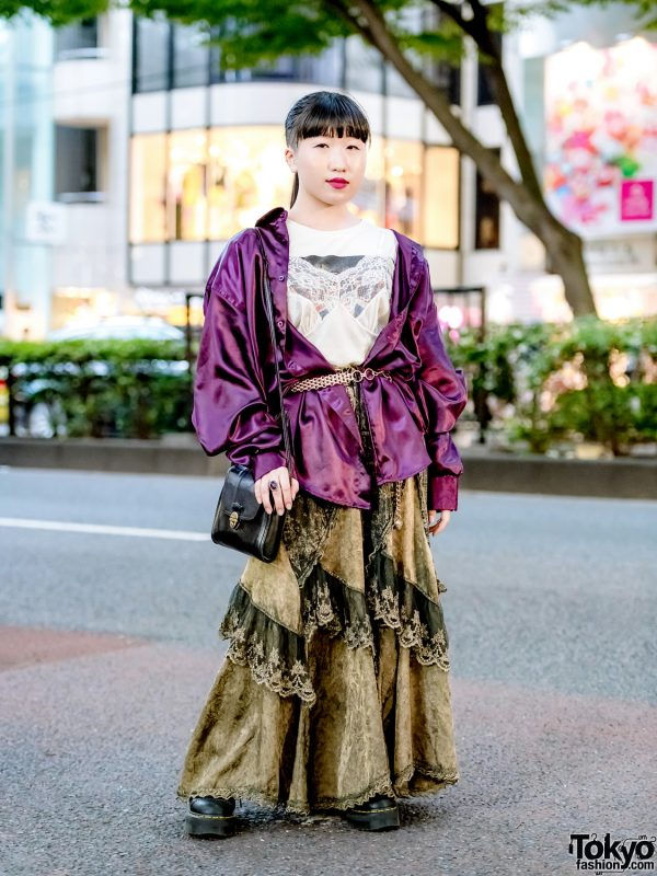 Layered Vintage Street Style w/ Satin Shirt, Camisole Top, Tiered Skirt & Dr. Martens in Harajuku