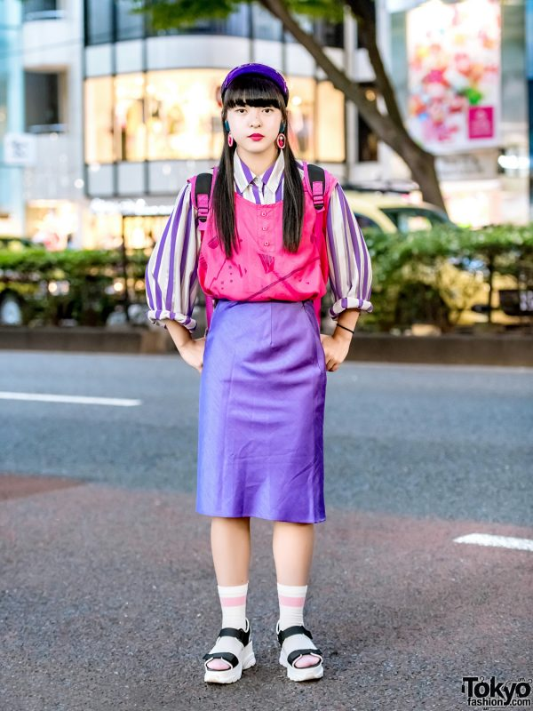 Pink & Purple Harajuku Street Style w/ RRR Show Room, WEGO Platform Sandals & Disney Villain Kids Backpack