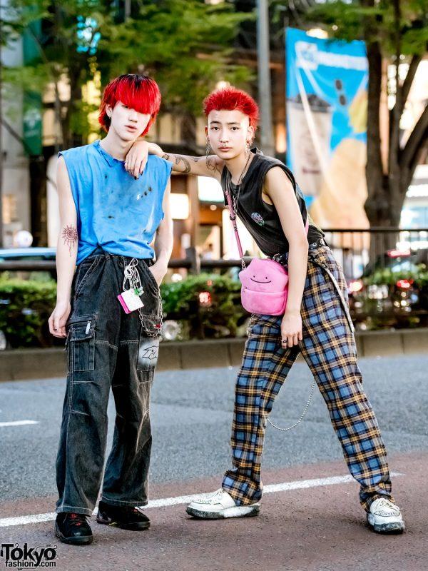 Japanese Streetwear Styles, Pink Hair, Tattoos, Vintage Tees, Plaid Pants, George Cox Creepers