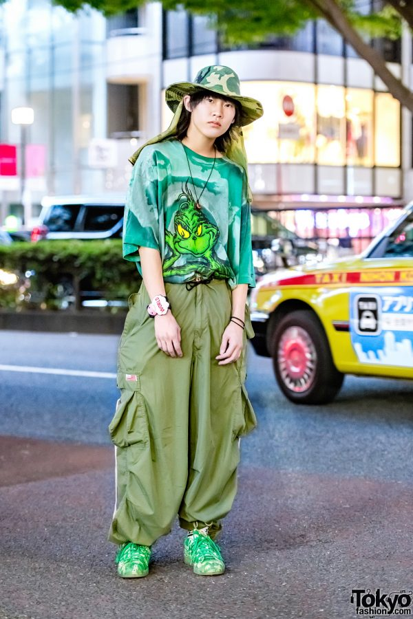 All Green Harajuku Street Style w/ The Grinch Shirt, UFO Parachute Pants, Hunting Hat, Adidas Sneakers & Walter Van Beirendonck Embroidered Watch