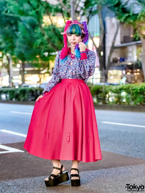 Harajuku Girl's Doll-inspired DIY Street Style w/ Colorful Yarn Hair, Sailor Blouse, Pleated Skirt & Tiara