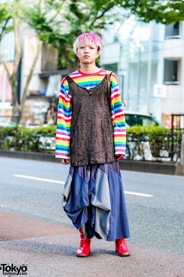 Harajuku Guy in Kinji Embellished Top, WEGO Rainbow Shirt, Vintage Skirt, Kansai Yamamoto Bag & Vintage Red Boots