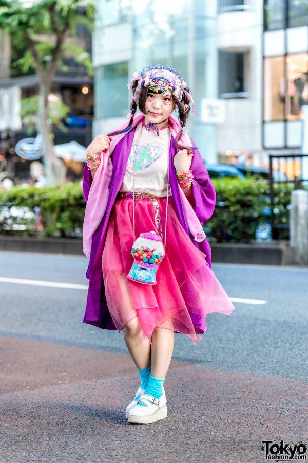 Japanese Decora Street Style in Harajuku w/ Kimono Kabukis, My Little Pony, Swimmer, ACDC & Claire's Gumball Bag