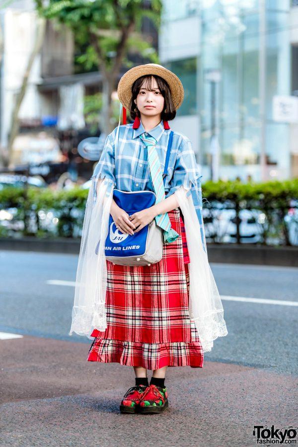 Remake Street Style in Harajuku w/ Plaid Ruffle Skirt, Checkered Shirt & Yosuke Strawberry Creepers