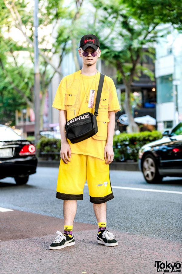 Harajuku Guy in Bright Yellow Streetwear Style w/ Stadium, Fubu, Places+Faces & Puma
