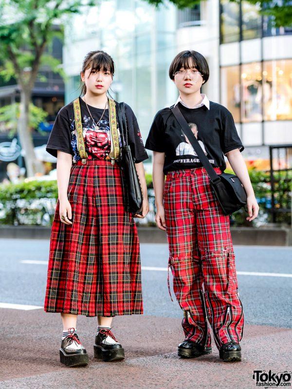 Red Plaid Streetwear Styles w/ San To Nibun No Ichi, Tokyo Bopper & (ME) Harajuku