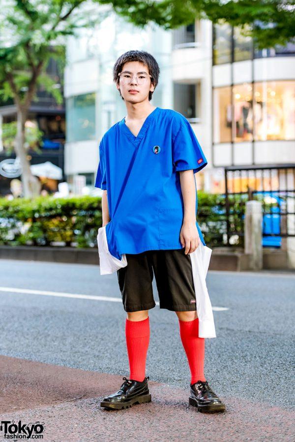Tokyo Casual Streetwear Style w/ Dickies Top, Red Knee Socks, Dickies Shorts & Rombaut Shoes