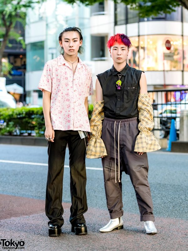 Japanese Remake Streetwear w/ Floral Shirt, Burberry Gingham Sleeves, Rick Owens & Vaquera