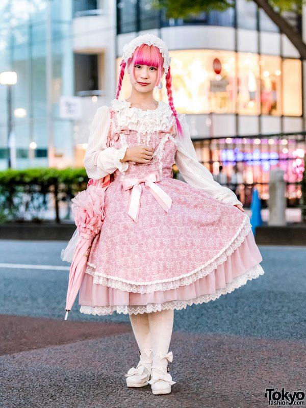 Pink-Haired Harajuku Girl in Japanese Lolita Fashion w/ Metamorphose temps de fille, Baby The Stars Shine Bright & Handmade Items
