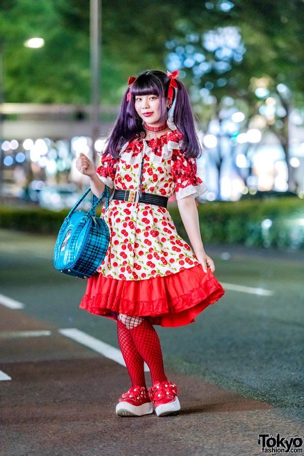 Harajuku Vintage Shop Staffer w/ Cherry Print Dress, Punk Cake, Kinji Shimokitazawa, Tokyo Bopper, (ME) Harajuku & WC