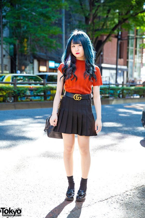 Harajuku Girl w/ Blue Hair in Pleated Skirt, Gucci Belt, Chanel Bucket Bag & Heeled Loafers