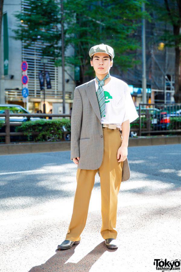 Vintage Street Style w/ Blazer, Walter Van Beirendonck T-Shirt, Mustard Pants & Leather Loafers