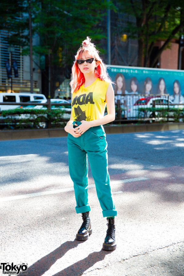 Japanese Model Ashley in Harajuku w/ D.O.A Top, Aqua Pants, Dr. Martens & Paris Miki Sunglasses