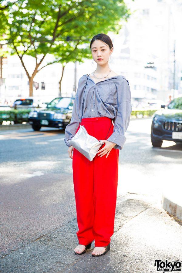 Chic Japanese Street Style w/ Off-Shoulder Top, birthdeath Pants, Murua Sandals & Christian Dada Accessories