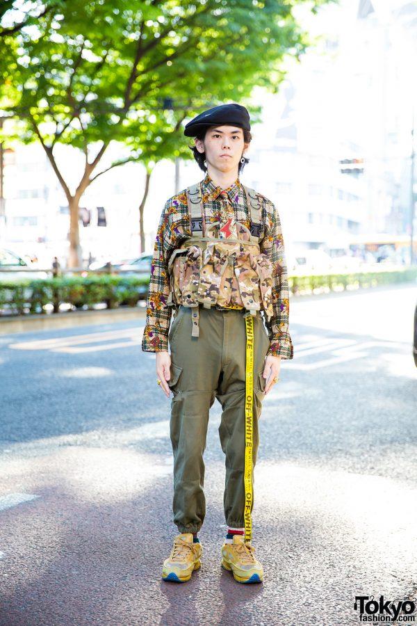 Japanese Streetwear Style w/ Nike Beret, Adidas x Raf Simons Oswego 2 Sneakers, Off-White Belt & Camo Waist Bag